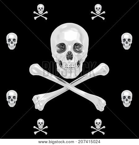 White Skull and Crossbones, 3D, Isolated Against a Black Background.
