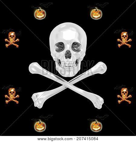 White Skull and Crossbones, Jack o' lantern, Bats flying, 3D, Isolated Against a Black Background.