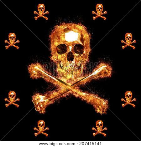 Burning Skull and Crossbones, 3D, Isolated Against a Black Background.