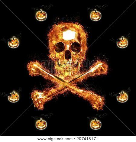 Burning Skull and Crossbones, Jack o' lantern, 3D, Isolated Against a Black Background.