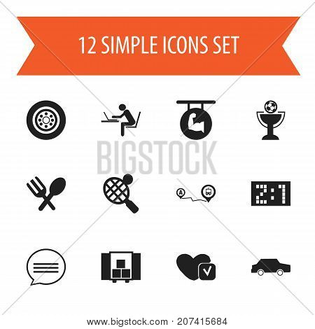 Set Of 12 Editable Complex Icons. Includes Symbols Such As Programmer, Delivery, Soul And More