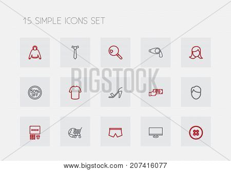Set Of 15 Editable Trade Outline Icons. Includes Symbols Such As Tie, Hairdryer, Men Face And More