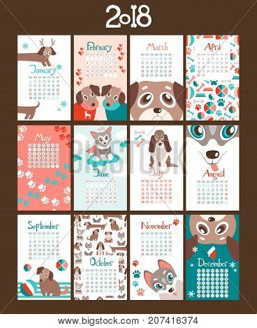 Creative calendar 2018 with cute cartoon puppies. Different breeds. Flat colored illustration, template. Can be used for web, print, card, poster, banner, bookmark. Week starts on sunday.
