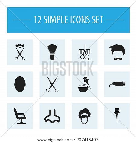 Set Of 12 Editable Hairdresser Icons. Includes Symbols Such As Stubble, Stylist, Bucket And More
