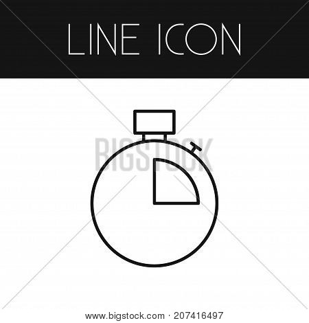 Timer Vector Element Can Be Used For Timer, Stopwatch, Chronometer Design Concept.  Isolated Stopwatch Outline.