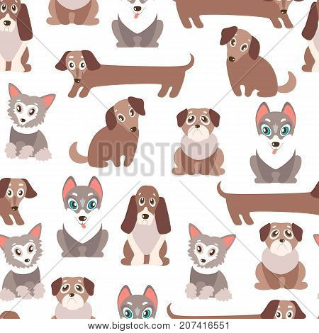Seamless vector pattern with cute cartoon puppies. Different breeds - dachshund, husky, retriever, pug, Chinese crested and basset. Natural colors.