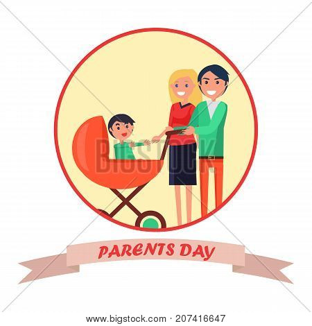 Parents Day banner greeting card vector illustration of happy mother and cheerful father walking with their little child in flat style