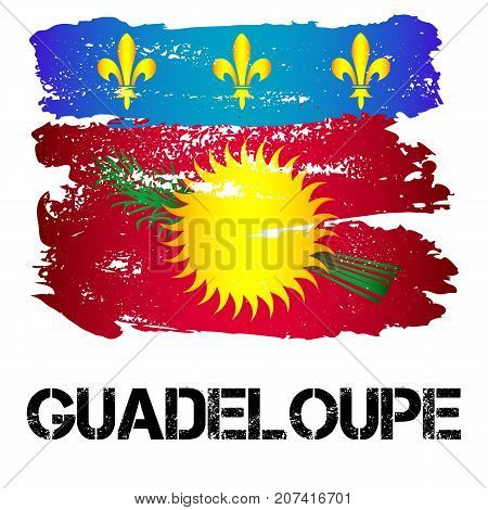 Flag of Guadeloupe from brush strokes in grunge style isolated on white background. Latin America. Overseas region and department of France in Caribbean Sea. Vector illustration