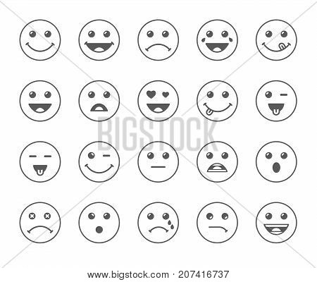 Set of line art round emoticons or emoji illustration grey icons. Smile icons vector illustration isolated on white background. Concept for World Smile Day smiling card or banner