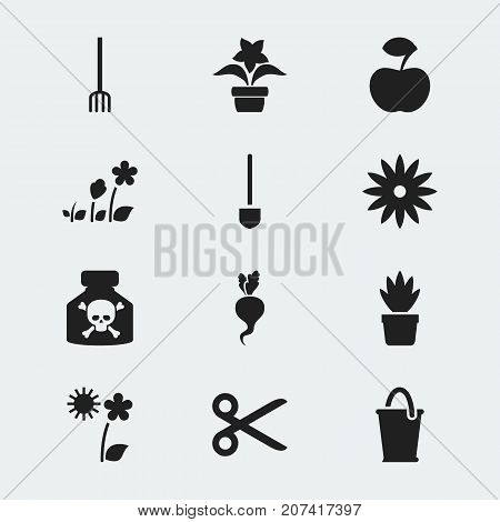 Set Of 12 Editable Gardening Icons. Includes Symbols Such As Hay Fork, Spade, South And More