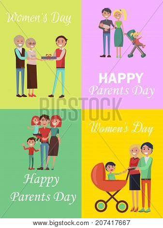 Set of congratulation cards for Women s and Parents Days. Vector illustration of happy families celebrating these holidays