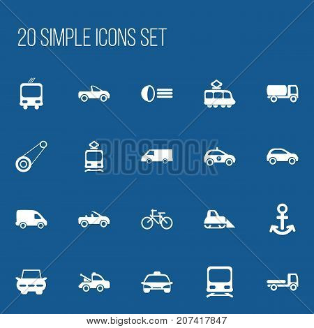 Set Of 20 Editable Transport Icons. Includes Symbols Such As Wagon, Transportation, Shipping And More