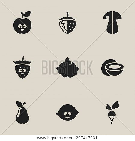Set Of 9 Editable Cookware Icons. Includes Symbols Such As Lemon, Turnip, Strawberry And More