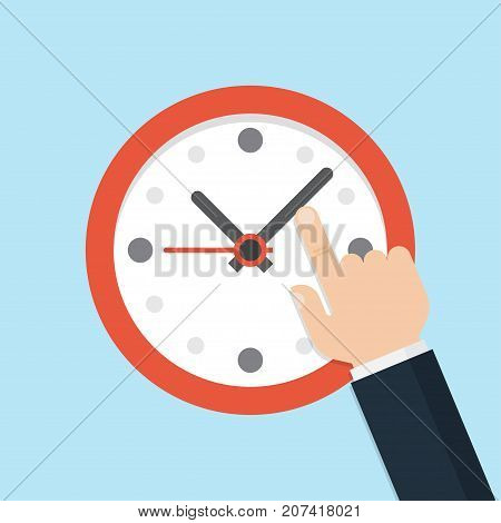 Hand pointing at clock Time management. Vector Illustration