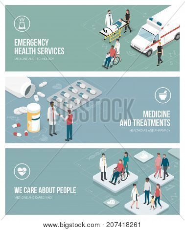 Healthcare emergency service medicine and caregiving banners set with isometric people