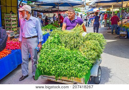 Herbs And Greens In Antalya Market