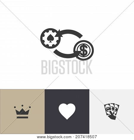 Set Of 4 Editable Gambling Icons. Includes Symbols Such As Love, Coronet, Swap And More