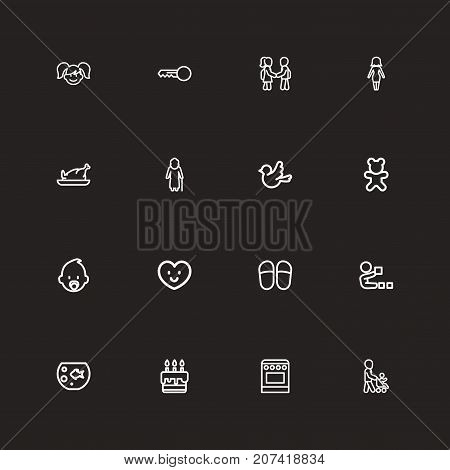 Set Of 16 Editable Relatives Outline Icons. Includes Symbols Such As Fish Tank, Home Shoes, Doll And More
