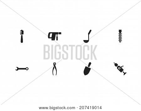 Set Of 8 Editable Equipment Icons. Includes Symbols Such As Screw, Tongs, Honey Stick And More