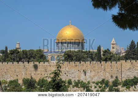The Mosque Dome of the Rock on the top of the Temple Mount from the Mount of Olives (Israel, Jerusalem)