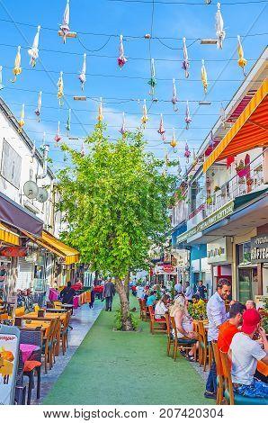 Dinner In Street With Umbrellas, Antalya