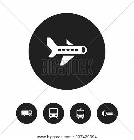 Set Of 5 Editable Transport Icons. Includes Symbols Such As Airplane, Transportation, Wagon And More