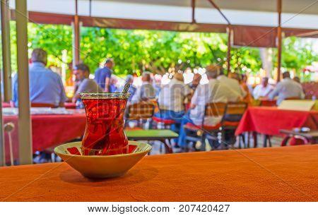 The Glass Of Tea In Antalya Tea House