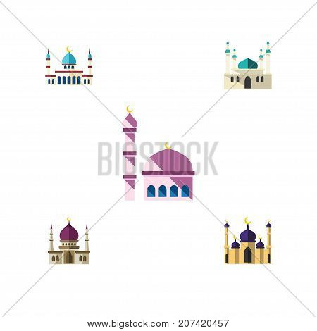 Flat Icon Building Set Of Traditional, Mosque, Architecture And Other Vector Objects