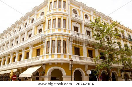 Ibiza downtown dalt vila yellow building Balearic Islands Spain poster