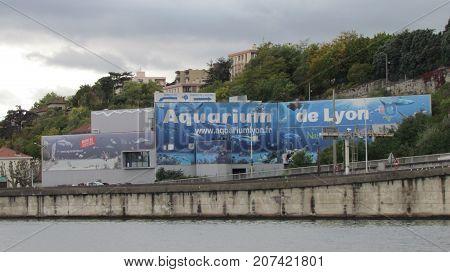 Lyon France, 3 October 2017 : Exterior view on the Aquarium of Lyon