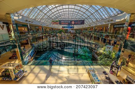 EDMONTON, CANADA - JULY 7, 2017 : Interior of the famous West Edmonton Mall. Its the largest shopping mall in North America and the tenth largest in the world.