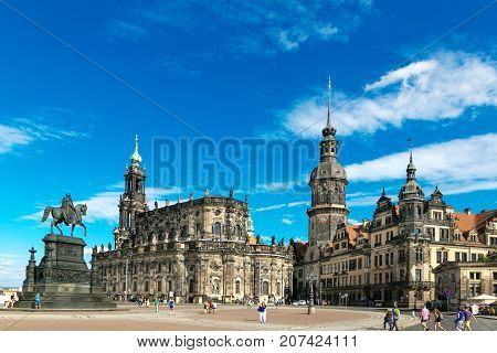 Dresden, Germany - August 4, 2017: The Opera House Is A Highlight Of The Architectural Ensemble Of T