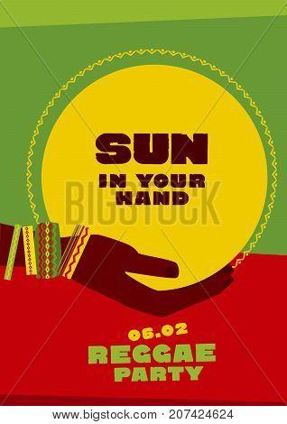 sun disk and tribal human hand with bracelets. reggae folk music background. Jamaica poster vector illustration
