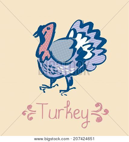 funny turkey sketch. french cuisine stylish poultry vector illustration