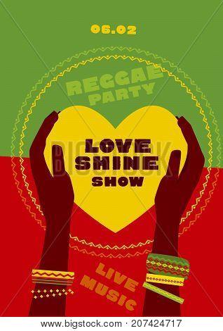 tribal human hand with bracelets hold yellow heart. reggae folk music background. Jamaica poster vector illustration