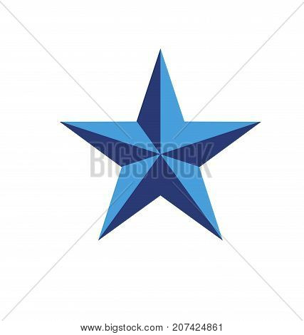 blue five ray star isolated vector illustration