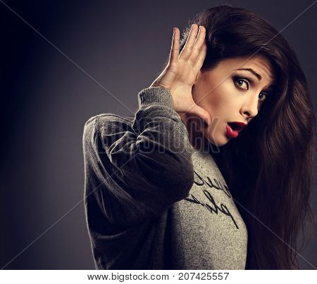 Excited Surprising Woman Holding The Hand Near The Ear And Listening With Emotional Face The Gossip