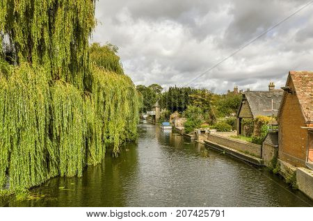 The river Great ouse in Godmanchester, Cambridgeshire, with a weeping willow tree and riverside buildings