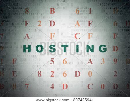 Web design concept: Painted green text Hosting on Digital Data Paper background with Hexadecimal Code