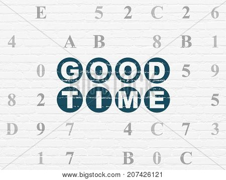 Time concept: Painted blue text Good Time on White Brick wall background with Hexadecimal Code