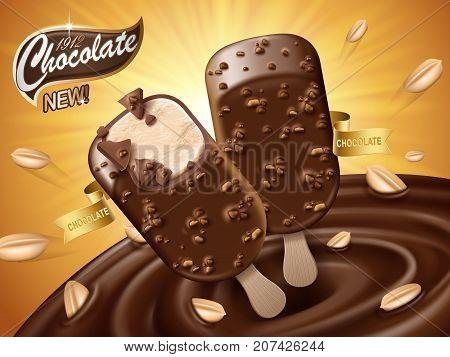 chocolate ice bar ad with chocolate vortex and peanut elements orange background 3d illustration