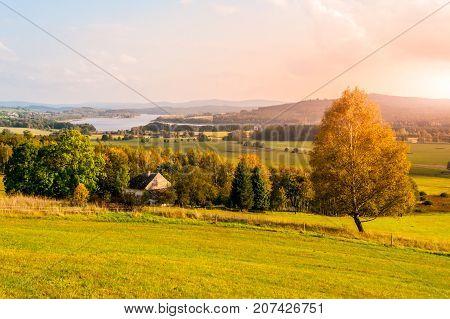 Autumn landscape at Lipno water reservoir, Sumava National Park, Southern Bohemia, Czech Republic.