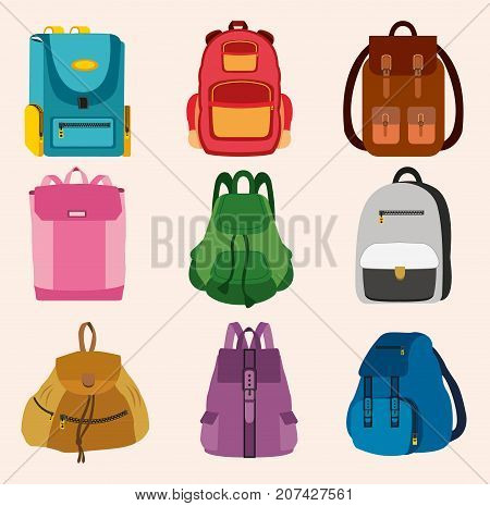Set of bright kids school bags isolated on light background. Flat style vector illustration.