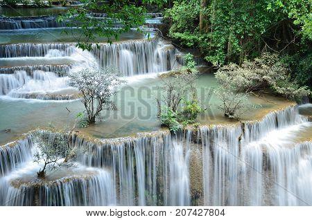 Scenic view of waterfall in the forest (chatkaew),huai mae khamin waterfall,kanchanaburi,thailand.