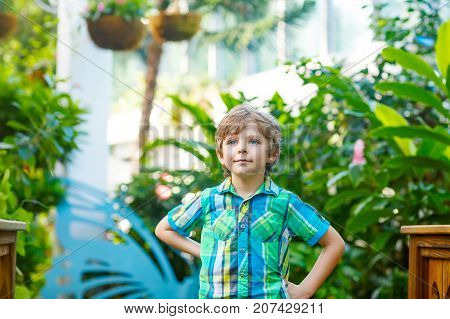 Little blond preschool kid boy discovering flowers and butterflies at botanic garden. Schoolchild interested in biology. Active educational leisure with kids in museum.
