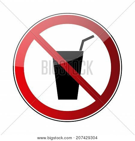 No drink sign. Prohibited sign beverage isolated on white background. Black silhouette in red round icon. No drinking pictogram. Forbidden warning No drink glass button Vector illustration