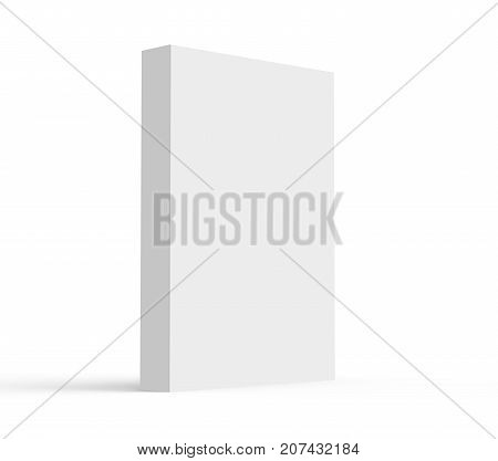 3D rendering hardcover book standing single book mockup isolated on white background