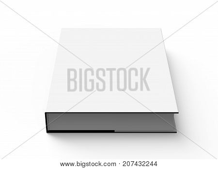 3D rendering hardcover book single book mockup lie down on white background