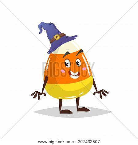 Cartoon candy corn costumed character. Mascot in witch hat. Halloween humanized sweet symbol for party poster and decoration.