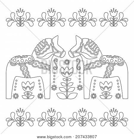 Scandinavian outline vector design, Swedish Dala or Dalecarlian horse pattern, coloring book for adults